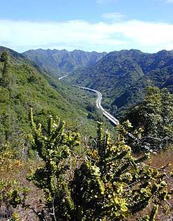 Interstate H-3 in Halawa Valley looking towards the Koʻolau crest