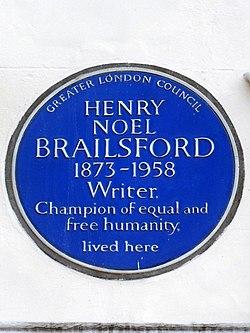Photo of H. N. Brailsford blue plaque