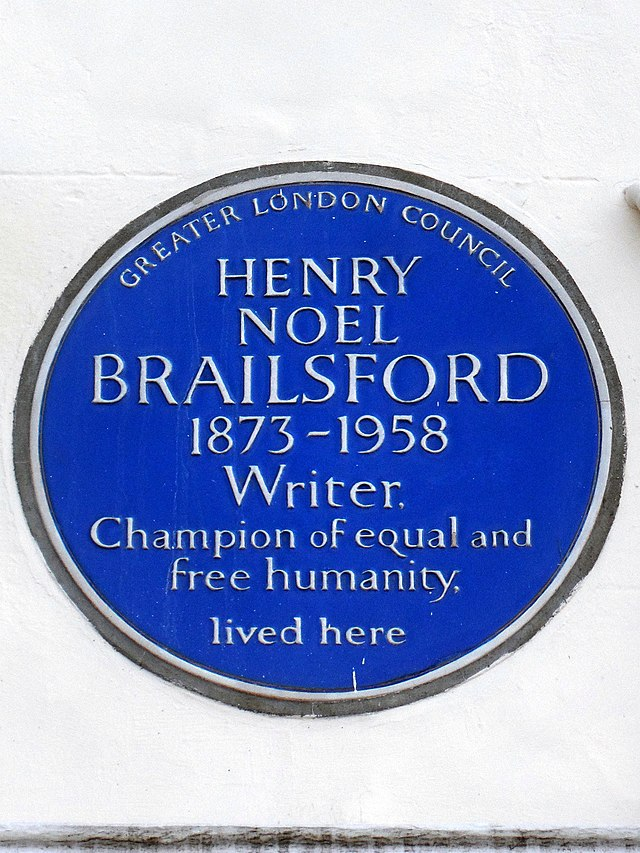 H. N. Brailsford blue plaque - Henry Noel Brailsford 1873-1958 writer, champion of equal and free humanity, lived here