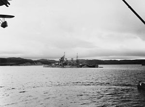 HMS Prince of Wales (53) - Prince of Wales off Newfoundland, 10–12 August 1941, after bringing Prime Minister Winston Churchill across the Atlantic to meet with President Franklin D. Roosevelt for the Atlantic Charter Conference
