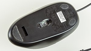 Computer mouse - The underside of an optical mouse