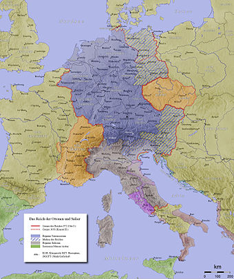 Extent of Holy Roman Empire in 972 (red line) and 1035 (red dots) with Kingdom of Germany marked in blue HRR 10Jh.jpg