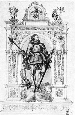 H Steiner zug. - Entwurf zum Denkmal Graf Ulrichs, Sohn des Greiners FedZeichn.aquar. ca1578 (ZaWH10).jpg