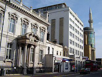 Haggerston - People of the book: Haggerston Library (foreground) and Suleymaniye Mosque (background, with minaret). Kingsland Road, September 2005