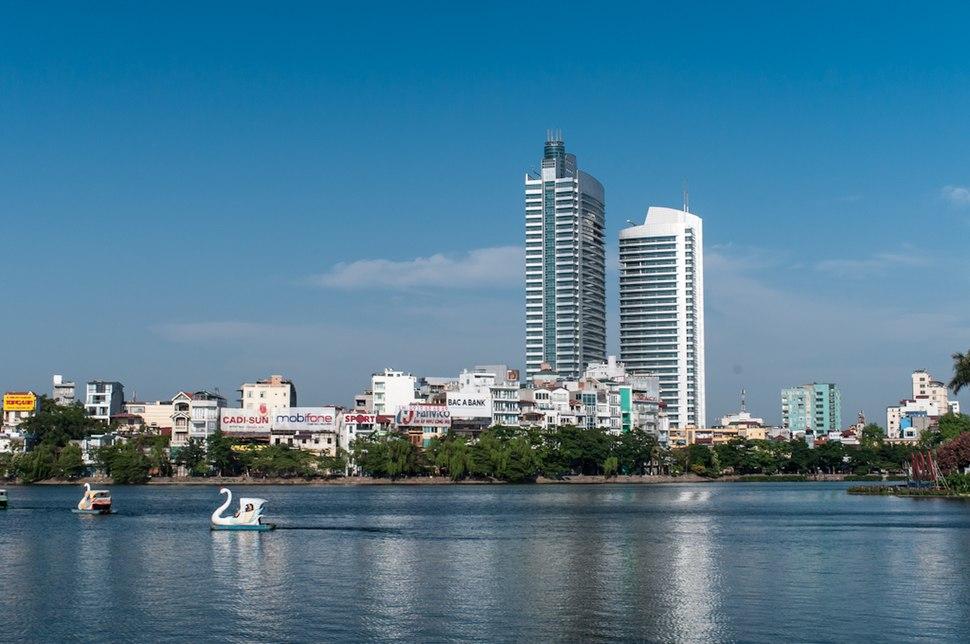 Hanoi urbanisation seen from Trúc Bạch Lake