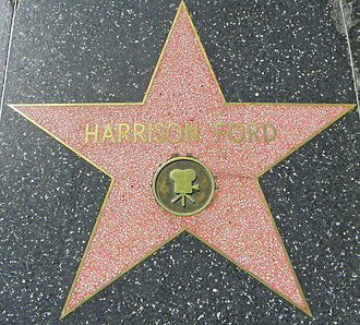 Harrison Ford's star, presented to the actor in 2003. The silent film actor of the same name has an identical star in a different location on Hollywood Boulevard HarrisonFordHWoFOct10.jpg