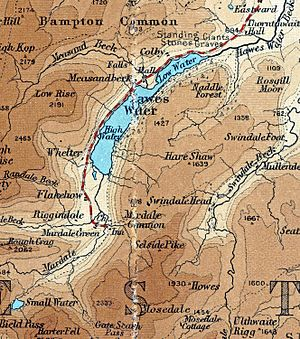 Haweswater Reservoir - 1924 map of Haweswater before it was enlarged. Note Mardale Green and the original road on the west bank.