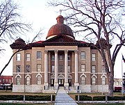 The current Hays County Courthouse was built in 1908 using the eclectic style of architecture.