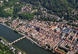 Heidelberg - Heidelberg, with Heidelberg Castle  on the hill and the Old Bridge over the river Neckar