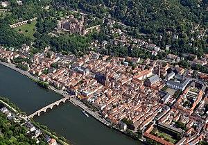 Heidelberg - Heidelberg, with Heidelberg Castle  on the hill and the Old Bridge over the river Neckar