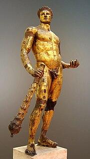 Escultura de Hércules, artista desconhecido. Arte romana datada do século II a.C., Musei Capitolini, Roma, Itália.