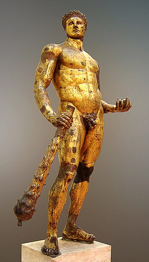 Hercules. Gilded bronze, Roman artwork, 2nd ce...