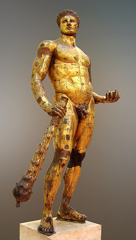 The Cynics adopted Heracles, shown here in this gilded bronze statue from the second century AD, as their patron hero. Hercules Musei Capitolini MC1265 n2.jpg