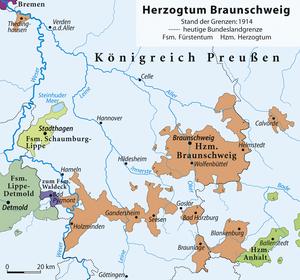 County of Blankenburg - Duchy of Brunswick (1914), with southeastern Blankenburg district