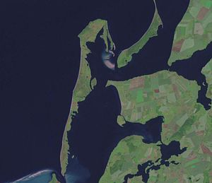 Bodden - Part of the West Rügen bodden chain (centre), separated from the Baltic Sea (left) by the seahorse-shaped island of Hiddensee; seen from Landsat