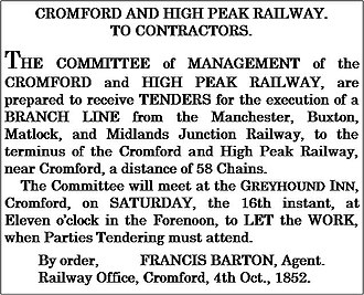 High Peak Junction - The advertisement placed for the construction of the branch line from the Midland Railway Junction to the canal-side site.