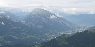 Calanda (mountain) - The Calanda as seen from the southwest with the Kunkels Pass on the left and the Rhine and Chur to its right