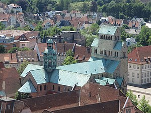Hildesheim Cathedral - Aerial view from the tower of St. Andreas