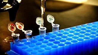 Vial - Plastic hinge-top vials on a vial rack