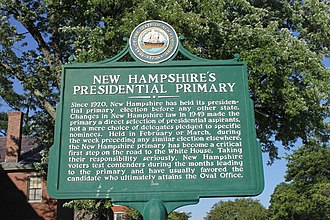 New Hampshire primary - Historical marker in Concord on the significance of the New Hampshire primary