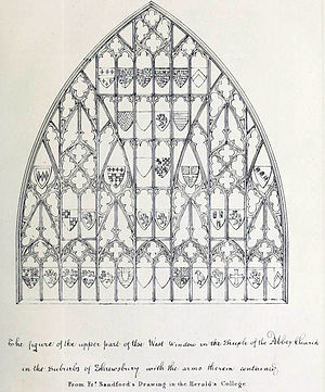Shrewsbury Abbey - Sketch of West Window, Shrewsbury Abbey, 1658, by Francis Sandford.