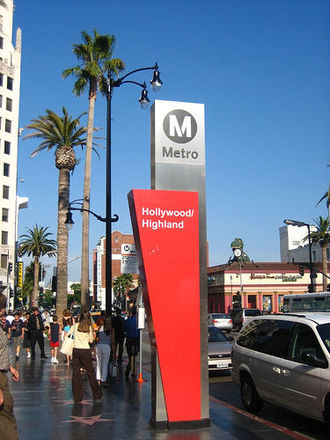 Red Line (Los Angeles Metro) - Hollywood/Highland Station is located in the heart of Hollywood's tourist attractions