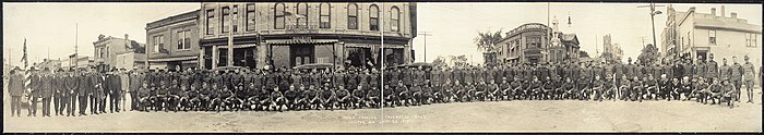 Panorama of Calumet County, Wisconsin soldiers gathered in uptown Chilton, Wisconsin after World War I