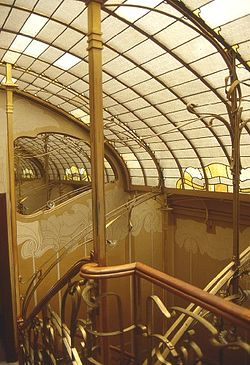 "Staircase of the Maison & Atelier of Victor Horta. This building is one of four Horta-designed town houses in Brussels that are together recognised by UNESCO as ""representing the highest expression of the influential Art Nouveau style in art and architecture."""