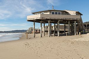 Stinson Beach, California - House on stilts in Stinson Beach