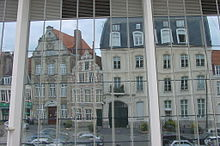 Houses reflected on covered market Cambrai.JPG