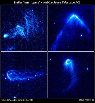 Stellar kinematics - Four runaway stars plowing through regions of dense interstellar gas and creating bright bow waves and trailing tails of glowing gas. The stars in these NASA Hubble Space Telescope images are among 14 young runaway stars spotted by the Advanced Camera for Surveys between October 2005 and July 2006