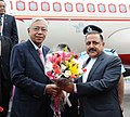 Htin Kyaw being received by the Minister of State for Development of North Eastern Region (IC), Prime Minister's Office, Personnel, Public Grievances & Pensions, Atomic Energy and Space, Dr. Jitendra Singh, in New Delhi.jpg