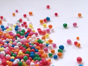English: brightly-coloured sprinkles.