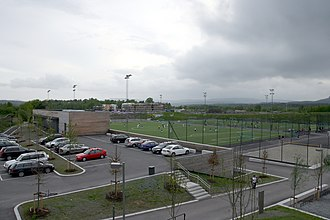 Snarøya - Football courts of Hundsund grendesenter. The closer one is turned into a bandy field in winter.