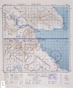 Området omkring Salamaua og Lae ved Huon-bugten.  Wau ligger sydvest for Salamaua.