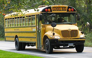 School bus - Front view of a typical North American school bus (IC CE)
