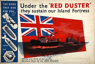 Merchant Navy (United Kingdom) - Second World War poster highlighting wartime dangers that the Merchant Navy faced