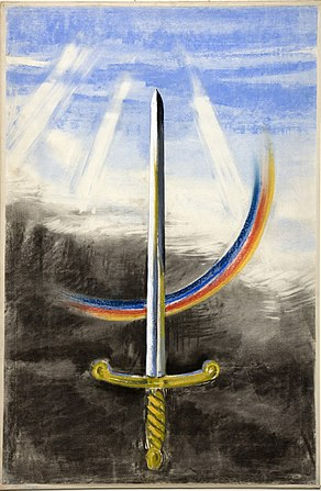 INF3-317 Unity of Strength A sword pointing vertically upwards, on a section of rainbow.jpg