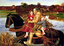 Nineteenth century painting of an elderly knight in armour on horseback with two young children holding on to him.