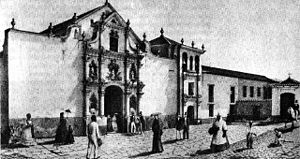 Palacio de las Academias - The  Iglesia de San Francisco and part of the Convent of San Francisco (1845).