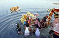Immersion of Durga idol on the completion of the Durga Puja celebrations on the Dasami day at the Geeta Ghat, on river Yamuna in Delhi on October 02, 2006.jpg