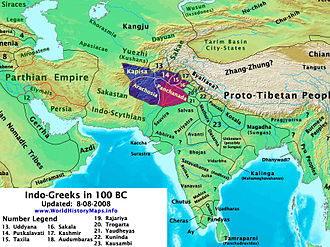 Indo-Greek Kingdom - Territory of the Indo-Greeks circa 100 BC.