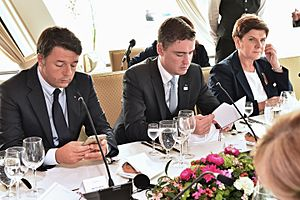 Beata Szydło - Beata Szydło with Italian Prime Minister Matteo Renzi and Estonian Prime Minister Taavi Rõivas during the Bratislava Summit, 2016