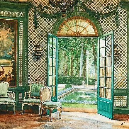 Interior of Elsie De Wolfe' music pavilion looking out on to the pool, The Villa Trianon, William Bruce Ellis Ranken Interior of Elsie De Wolfe's music pavilion looking out on to the pool, The Villa Trianon.jpg