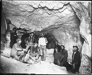 Goldfield, Nevada - Interior view of mine and miners in the Mohawk Mine, Goldfield, circa 1900–1905