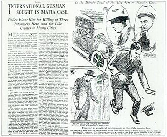 Los Angeles crime family - Los Angeles Times newspaper in 1917. Pictured in the top right corner are Sam Matranga and Tony Buccola. The drawing is a depiction of the murder of Pietro Matranga.