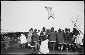 Trampoline - Inuit blanket toss in Wainwright, Alaska (1922-1923) during Amundsen's Maud Expedition
