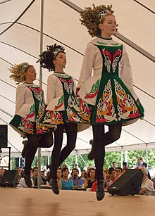 Irish dancers in team costume, Davis Academy, USA.jpg