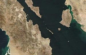 Tiburón Island - Satellite photo of Tiburón Island (top right).