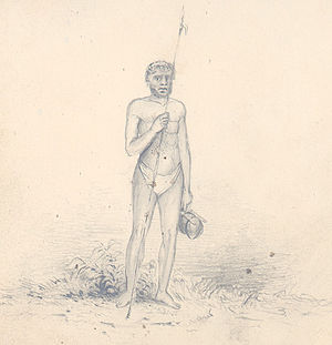 Disappointment Islands - Islander of Wutoohee, drawn by Alfred Thomas Agate